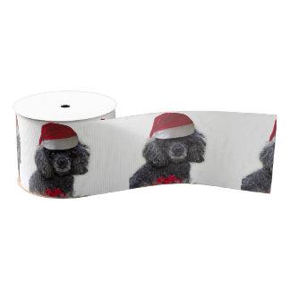"""クリスマスの黒いプードル犬3""""グログランリボン グログランリボン"""
