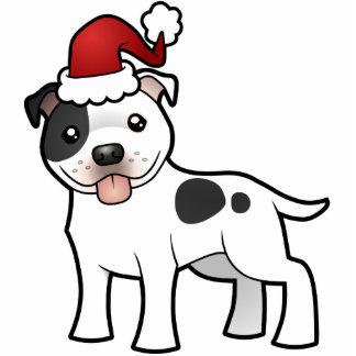 クリスマスの(犬)スタッフォードのブルテリアのオーナメント 写真彫刻オーナメント