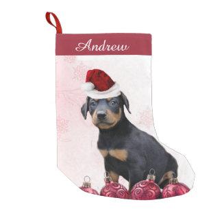 クリスマスの(犬)ドーベルマン・ピンシェルの子犬のストッキング スモールクリスマスストッキング