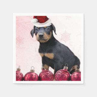 クリスマスの(犬)ドーベルマン・ピンシェルの子犬 スタンダードカクテルナプキン
