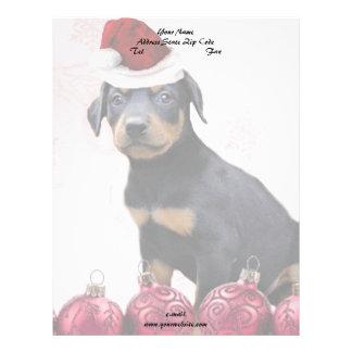 クリスマスの(犬)ドーベルマン・ピンシェルの子犬 レターヘッド