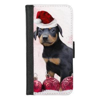 クリスマスの(犬)ドーベルマン・ピンシェル犬のiPhone 8/7の場合 iPhone 8/7 ウォレットケース