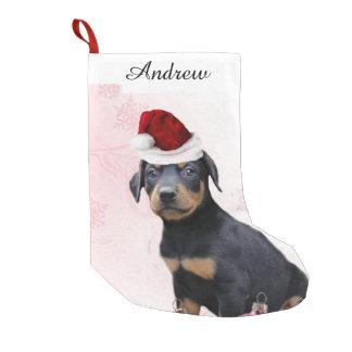 クリスマスの(犬)ドーベルマン・ピンシェル犬 スモールクリスマスストッキング