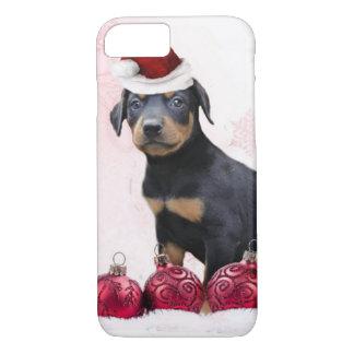 クリスマスの(犬)ドーベルマン・ピンシェル犬 iPhone 8/7ケース