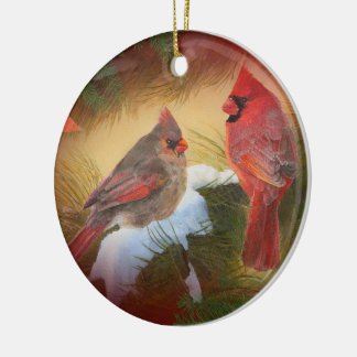 クリスマスの(鳥)ショウジョウコウカンチョウ セラミックオーナメント