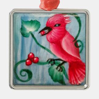 クリスマスの(鳥)ショウジョウコウカンチョウ メタルオーナメント