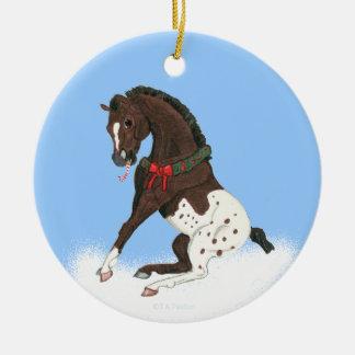 クリスマスのAppaloosaの子馬 セラミックオーナメント