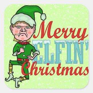 クリスマスのBahのおもしろいでメリーな小妖精の詐欺 スクエアシール