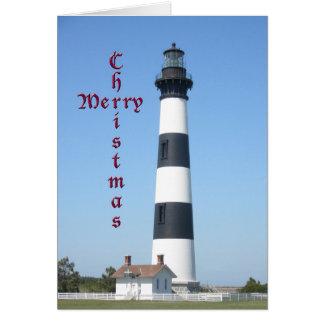 クリスマスのBodieの島の灯台 カード