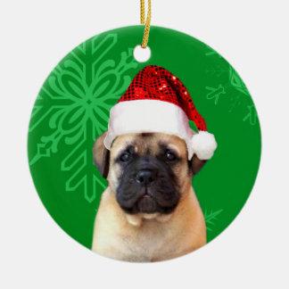 クリスマスのbullmastiffの子犬 セラミックオーナメント
