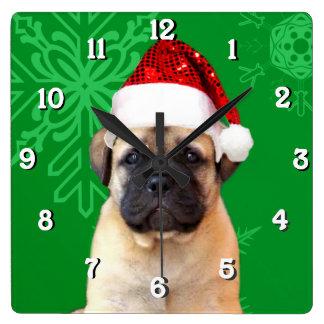クリスマスのbullmastiff犬の正方形の時計 スクエア壁時計