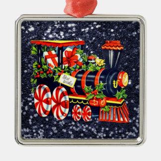クリスマスのChoo Chooの列車の青く模造のなグリッター メタルオーナメント