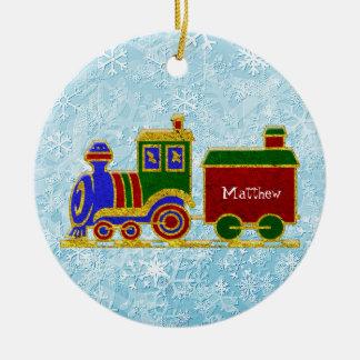 クリスマスのChoo Chooの列車は個人化なります セラミックオーナメント