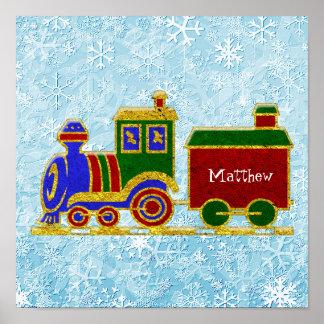 クリスマスのChoo Chooの列車は個人化なります ポスター