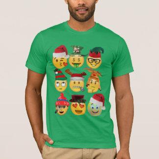 クリスマスのemojiのコレクションのおもしろいなワイシャツデザイン tシャツ