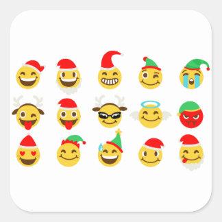 クリスマスのemojiの幸せな顔 スクエアシール