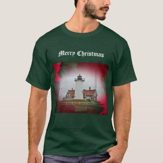 クリスマスのNobskaポイント灯台 Tシャツ