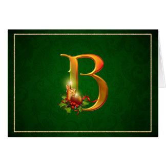 クリスマスのNotecardの白熱つけられた蝋燭最初のB カード
