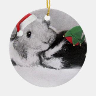 クリスマスのPeegsのモルモット セラミックオーナメント