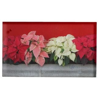 クリスマスのPointsettiaの花 テーブルカードホルダー