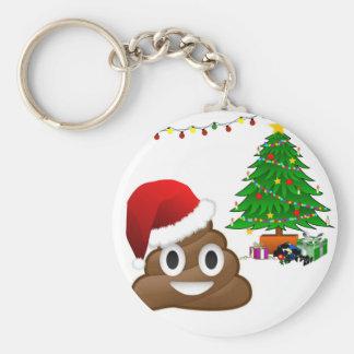 クリスマスのpooのemoji ベーシック丸型缶キーホルダー