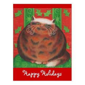 クリスマスのPudの「幸せな休日」の郵便はがき ポストカード