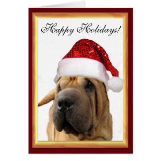 クリスマスのShar Pei犬 カード