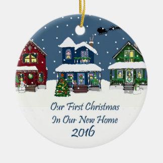 クリスマスのSnowyの2016軒の新しい家の家 セラミックオーナメント