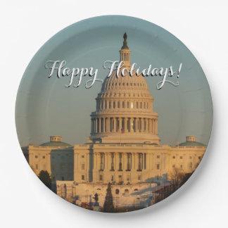 クリスマスのWashington D.C.の休日の写真の国会議事堂 ペーパープレート