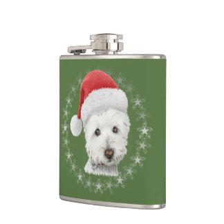 クリスマスのWestie犬の芸術のフラスコ フラスク