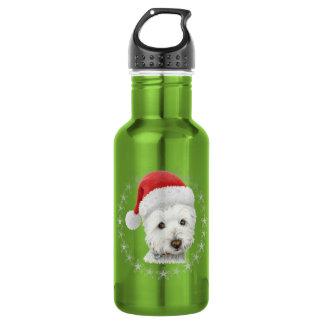 クリスマスのWestie犬の芸術 ウォーターボトル