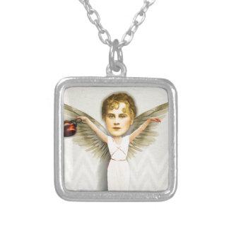 クリスマスのZettiの天使のコラージュ シルバープレートネックレス