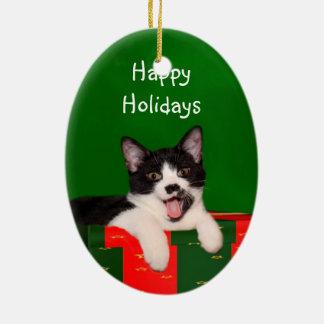 クリスマスはタキシード猫を望みます セラミックオーナメント