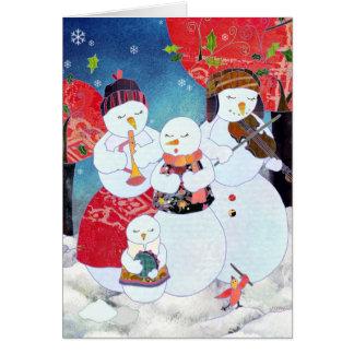 クリスマスは雪だるまの休日の挨拶をキャロルを歌います カード