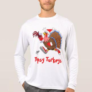 クリスマスよろよろしているトルコ(ワイン) - LSのスポーツTek Tシャツ