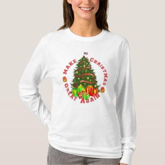 クリスマスを緑の赤い黄色を切札で取ること素晴らしく再度させて下さい Tシャツ