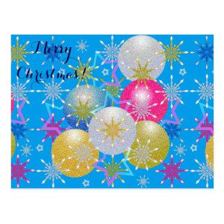 クリスマスオーナメント及び雪片 ポストカード