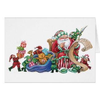 クリスマスカードのためのサンタクロース、小妖精や小人およびおもちゃ カード