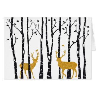クリスマスカードのウィットのトナカイおよび樺の木 グリーティングカード