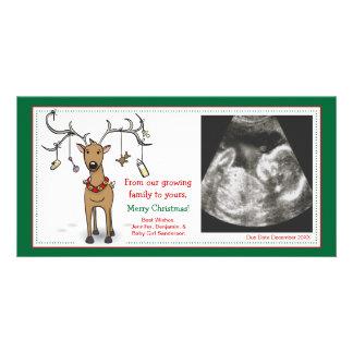 クリスマスカードの妊娠の発表のトナカイ カード