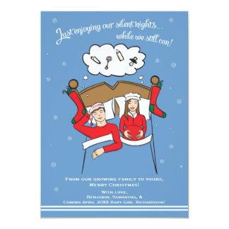 クリスマスカードの妊娠の発表のブルネット カード