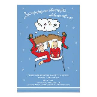 クリスマスカードの妊娠の発表-ブロンドの女性 カード