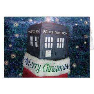 クリスマスカードの青い警察箱 カード