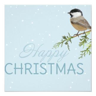 クリスマスカードの鳥のツリーブランチのクリスマス 13.3 スクエアインビテーションカード