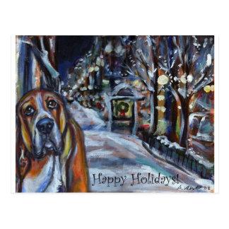 クリスマスカードバセットハウンドの幸せな休日 ポストカード