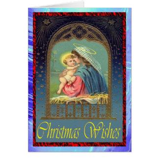 クリスマスカード9の4無し-メリーおよびベビーイエス・キリスト カード