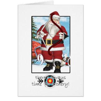 クリスマスカード、アーチェリーを遊ぶサンタ カード