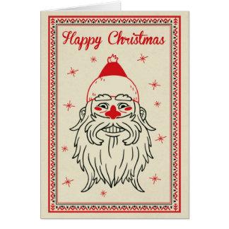 クリスマスカード-サンタは直面します カード