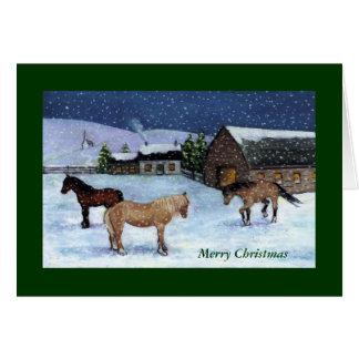 クリスマスカード: 馬、雪: 芸術 カード