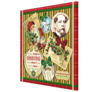 クリスマスキャロルのチャールズ・ディケンズの引用文の赤の格子縞 キャンバスプリント